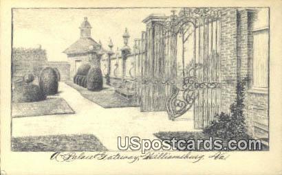 Palace Gateway - Williamsburg, Virginia VA Postcard