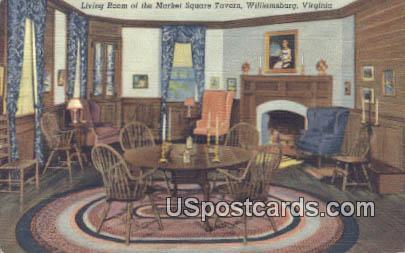 Living Room, Market Square Tavern - Williamsburg, Virginia VA Postcard
