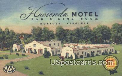 Hacienda Motel - Norfolk, Virginia VA Postcard