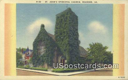 St John's Episcopal Church - Roanoke, Virginia VA Postcard