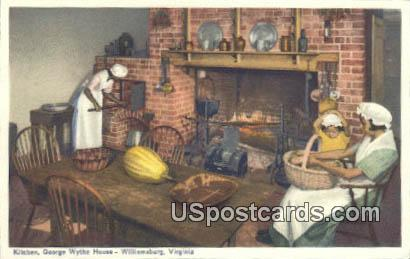 Kitchen, George Wythe House - Williamsburg, Virginia VA Postcard