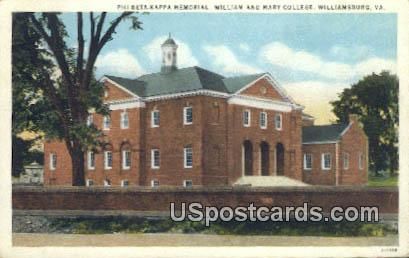 Phi-Beta Kappa Memorial - Williamsburg, Virginia VA Postcard