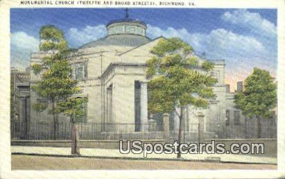 Monumental Church - Richmond, Virginia VA Postcard
