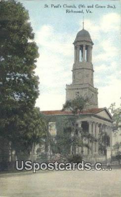 St Paul's Church - Richmond, Virginia VA Postcard