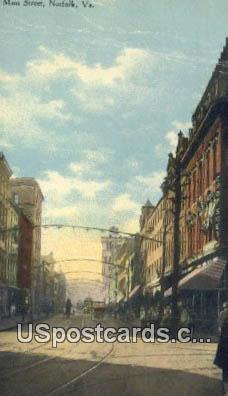 Main Street - Norfolk, Virginia VA Postcard