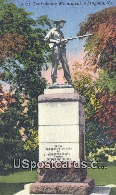 Confederate Monument - Abingdon, Virginia VA Postcard