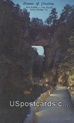 Drama of Creation - Natural Bridge, Virginia VA Postcard