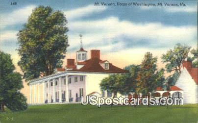 Mt Vernonm Home of Washington - Virginia VA Postcard