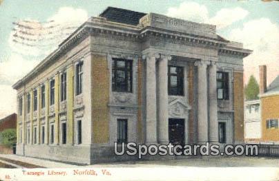 Carnegie Library - Norfolk, Virginia VA Postcard