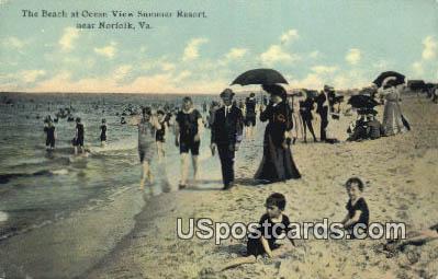 Beach, Ocean View Summer Resort - Norfolk, Virginia VA Postcard