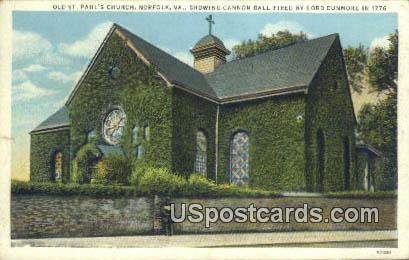 Old St Paul's Church - Norfolk, Virginia VA Postcard