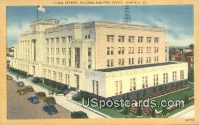 New Federal Building & Post Office - Norfolk, Virginia VA Postcard