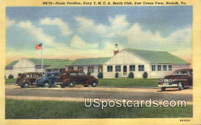 Picnic Pavilion, Navy YMCA Beach Club - Norfolk, Virginia VA Postcard