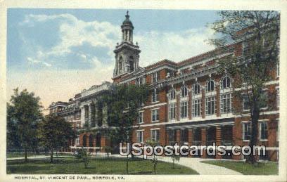 Hospital, St Vincent De Paul - Norfolk, Virginia VA Postcard
