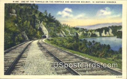 Tunnel, Norfolk & Western Railway - Historic Virginia Postcards, Virginia VA Postcard