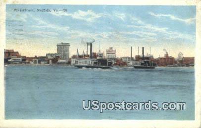 Waterfront - Norfolk, Virginia VA Postcard