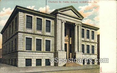 Charlotte St Public School - Norfolk, Virginia VA Postcard