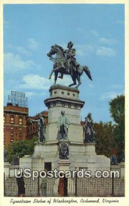 Equestrian Statue of Washington - Richmond, Virginia VA Postcard