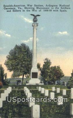 Spanish American War Section - Arlington, Virginia VA Postcard
