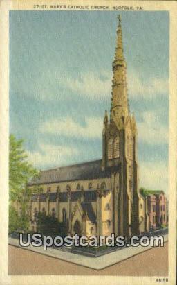 St Mary's Catholic Church - Norfolk, Virginia VA Postcard