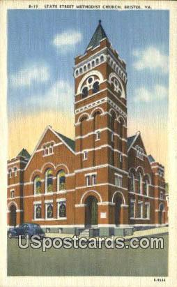 State Street Methodist Church - Bristol, Virginia VA Postcard