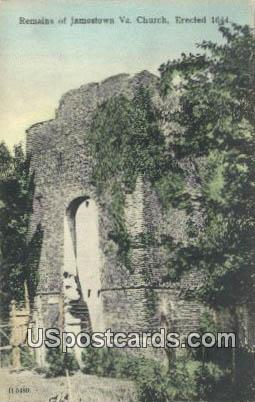 Remains of Jamestown Va Church - Virginia VA Postcard