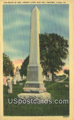 Grave of Gen Andrew Lewis - Salem, Virginia VA Postcard