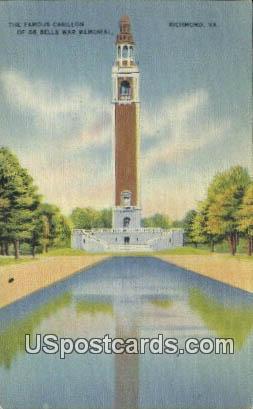 Famous Carrillon, Bells War Memorial - Richmond, Virginia VA Postcard