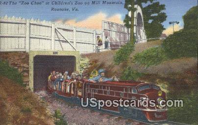 Zoo Choo, Children's Zoo - Mill Mountain, Virginia VA Postcard