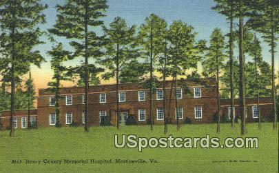 Henry County Memorial Hospital - Martinsville, Virginia VA Postcard