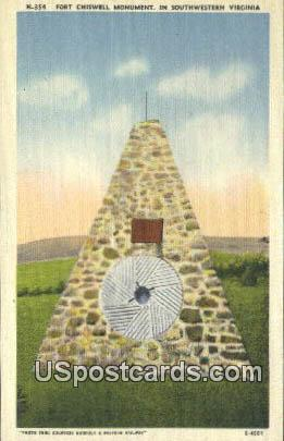 Fort Chiswell Monument - Southwestern Virginia Postcards, Virginia VA Postcard