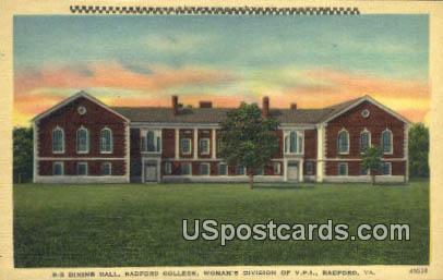 Dining Hall, Radford College - Virginia VA Postcard