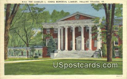 Charles L Cooke Memorial Library, Hollins College - Roanoke, Virginia VA Postcard