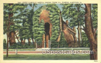 Original Tower Still Standing - Jamestown, Virginia VA Postcard