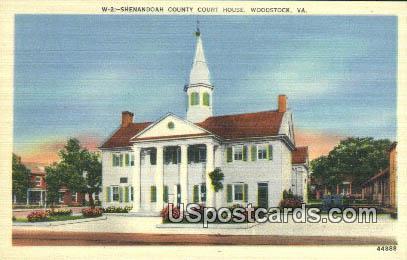 Shenandoah County Court House - Woodstock, Virginia VA Postcard