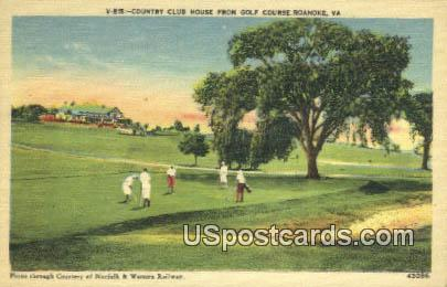 Country Club House, Golf Course - Roanoke, Virginia VA Postcard