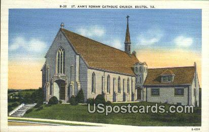St Ann's Roman Catholic Church - Bristol, Virginia VA Postcard