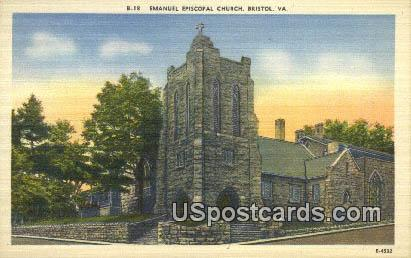 Emanuel Episcopal Church - Bristol, Virginia VA Postcard