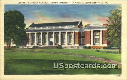 Alderman Memorial Library - Charlottesville, Virginia VA Postcard