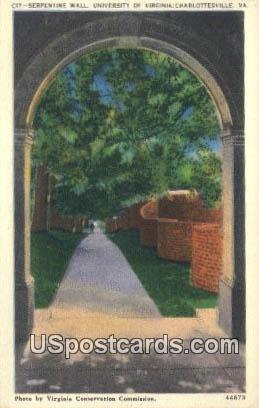 Serpentine Wall, University of Virginia - Charlottesville Postcard