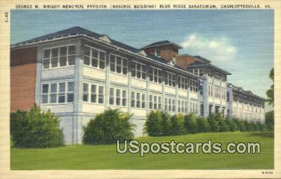 George Wright Masonic Memorial Building - Charlottesville, Virginia VA Postcard