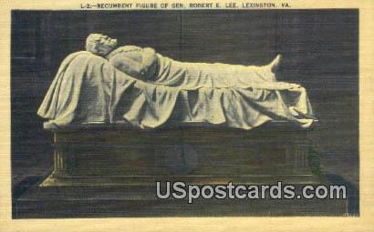 Recumbent Figure of Gen Robert E Lee - Lexington, Virginia VA Postcard