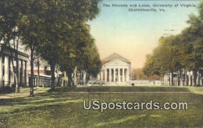 Rotunda & Lawn, University of Virginia - Charlottesville Postcard