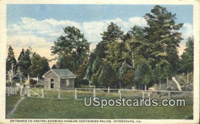 Crater, Museum Containing Relics - Petersburg, Virginia VA Postcard