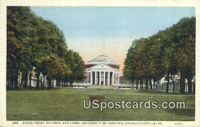 South Front Rotunda & Lawn, University of Virginia - Charlottesville Postcard