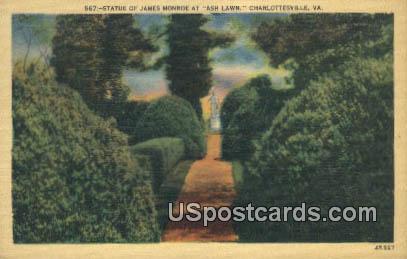 Statue of James Monroe, Ash Lawn - Charlottesville, Virginia VA Postcard