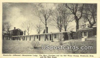 Jefferson's Honeymoon Lodge - Monticello, Virginia VA Postcard