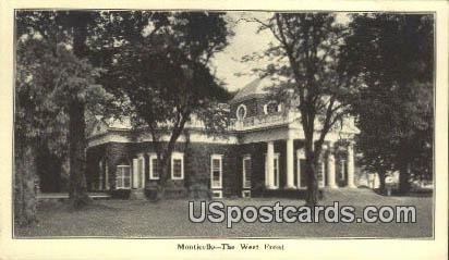 West Front - Monticello, Virginia VA Postcard