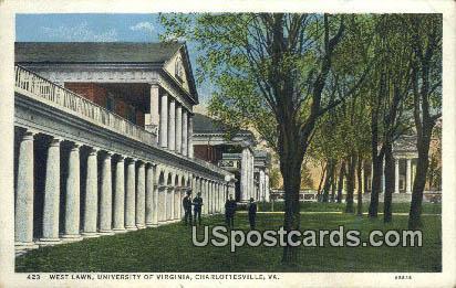 West Lawn, University of Virginia - Charlottesville Postcard