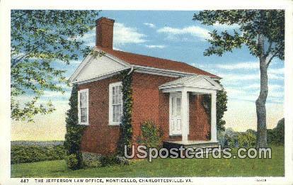 Jefferson Law Office, Monticello - Charlottesville, Virginia VA Postcard